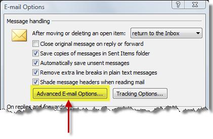 Advanced Email Options