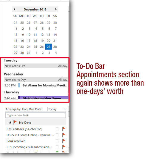 outlook 2013 appointments preview fix
