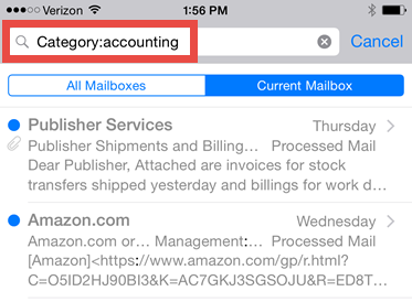 iPhone/iPad Mail App: Finding E-mail by Outlook Category