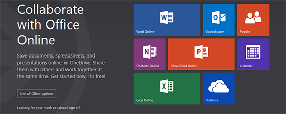 Three office suites office online office 365 and office 2013