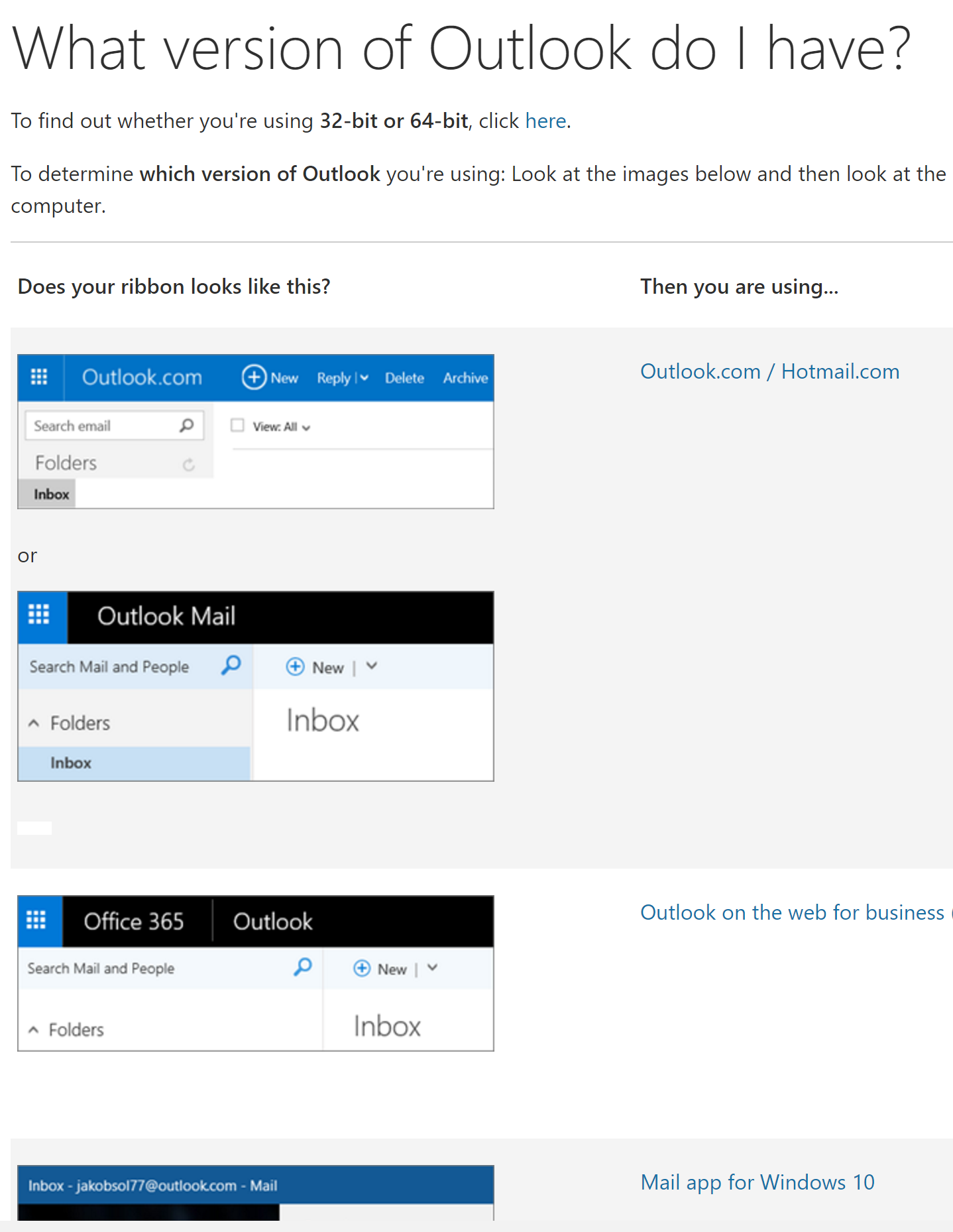Visual Field Guide To Outlook Versions