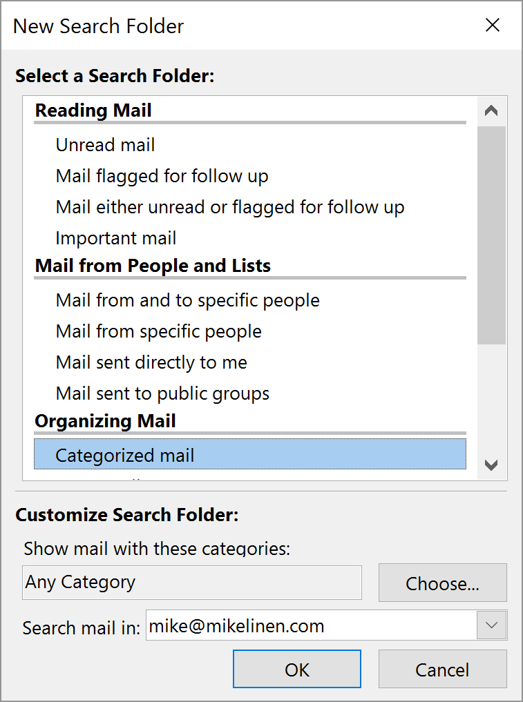 how to make a search folder in outlook 2016